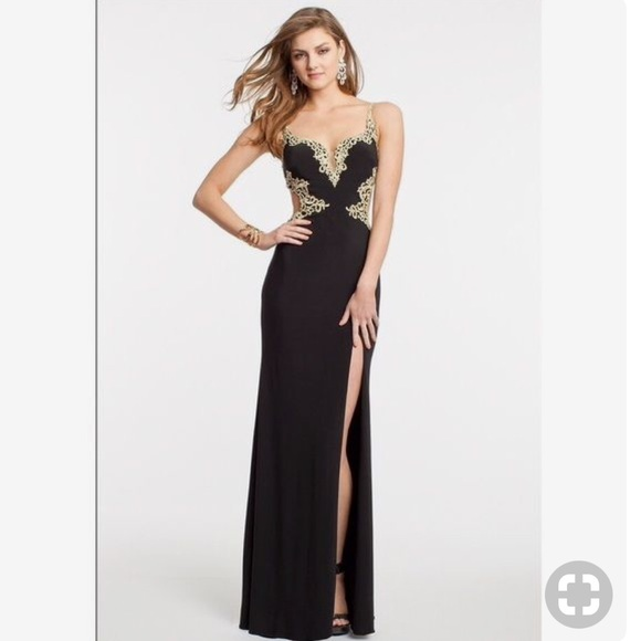 Black Prom Dresses with Gold Accents
